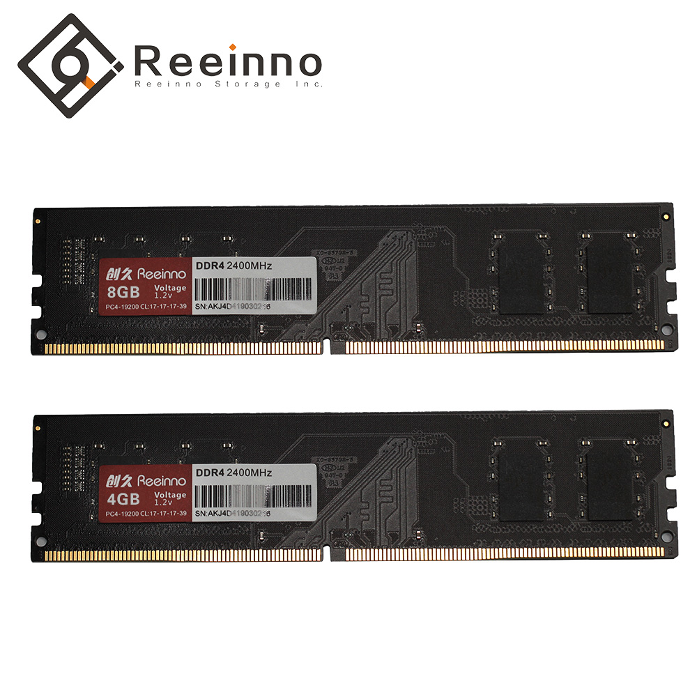Reeinno Ram 4GB/8GB DDR4 2400MHz 1.2V PC4-19200 288pin 17-17-17-39 CL=17 Interface Type single Ram Sell 4GB DIMM Desktop Memory