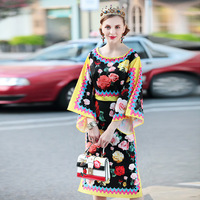 2018 Colorful Roses Forked High Quality Summer Runway Dress Women S Floral Print Batwing Sleeve O