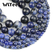 WLYeeS Natural Stone Sodalite stone Beads 4 6 8 10 12mm Blue Round Loose bead for jewelry bracelet DIY 15 Factory price