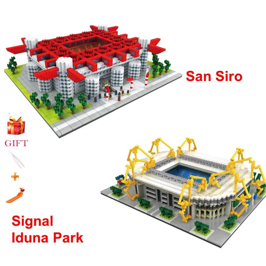Assemble Architecture San Siro Football Field Signal Iduna Park Stadium Building Blocks Educational Bricks Gifts