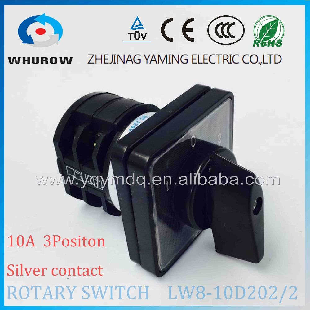 Rotary switch 3 position LW8-10D202/2 universal switch 10A 2 poles 8 Terminal black rotary changeover cam switch silver contact load circuit breaker switch ac ui 660v ith 100a on off 3 poles 3 phases 3no 2 position universal rotary cam changeover switch