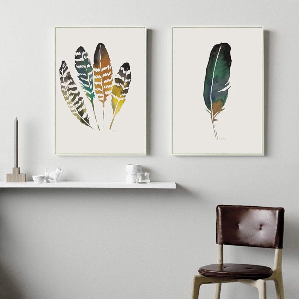 US $2.55 48% OFF|Nordischen Stil Aquarell Farbige Feder Leinwand Malerei  Kunstdruck Poster Bild Wand Dekoration Moderne Deco-in Malerei und ...