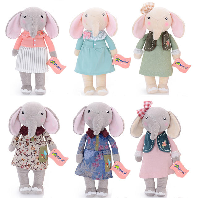 metoo elephant dolls dreaming girl wear cloth pattern skirt plush