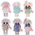 METOO Elephant Dolls Dreaming Girl Wear Cloth Pattern Skirt Plush Stuffed Gift Toys for Kids Children 12*4