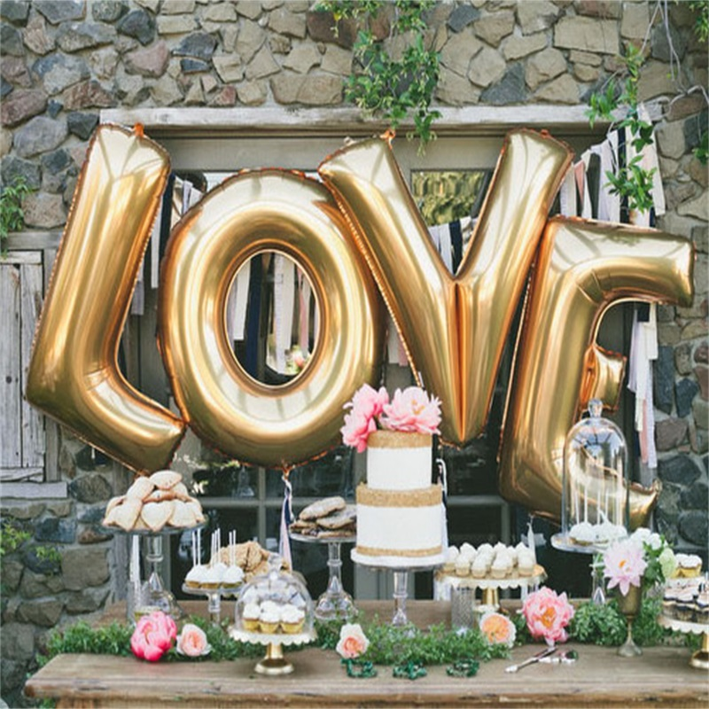 4pcs large silver letters love foil balloons wedding party decoration helium balloon inflatable letters