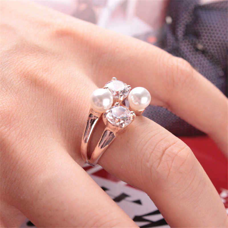 ZRAY Fashion Adjustable Open Ring for Women Gold Silver Color Crystal Imitation Pearl Party Wedding Rings Popular Female Jewelry
