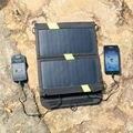 14 w de alta eficiência sunpower painel solar dobrável carregador solar de dupla saída banco de potência camping carregador de celular para celular