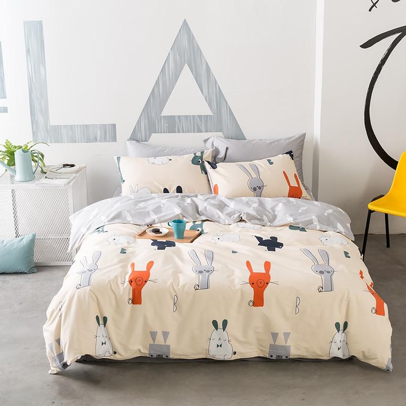 Cartoon Rabbit Duvet Cover Set Twin Queen King Size Bedding Sets For Children 100% Cotton Grey Bed Sheet Pillow Case Quilt Cover