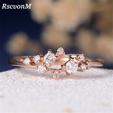 RscvonM Marquise Cute Engagement Ring for Women Three Stone Cluster Bridal Rings Wedding Jewelry Dainty Female Finger Rings(China)