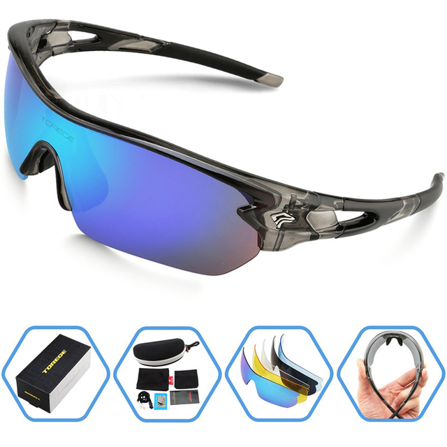 Fashion Polarized Sports Sunglasses for Men Women Climbing Running Driving Fishing Golf Eyewear Glasses PC Frame 5 Lens UV400