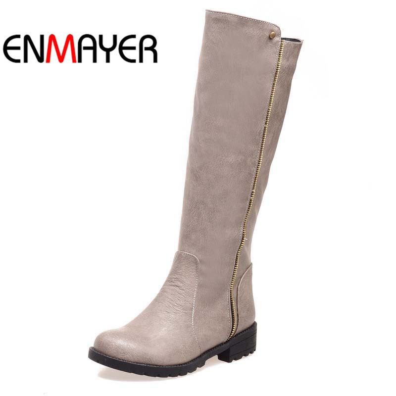 ENMAYER Motorcycle boots Newest Autumn Winter Women Boots knee high shoes for women low heel martin boots female black boots white model stage performance women s boots autumn winter low tube boots crystal shoes 15cm high heel dance shoes