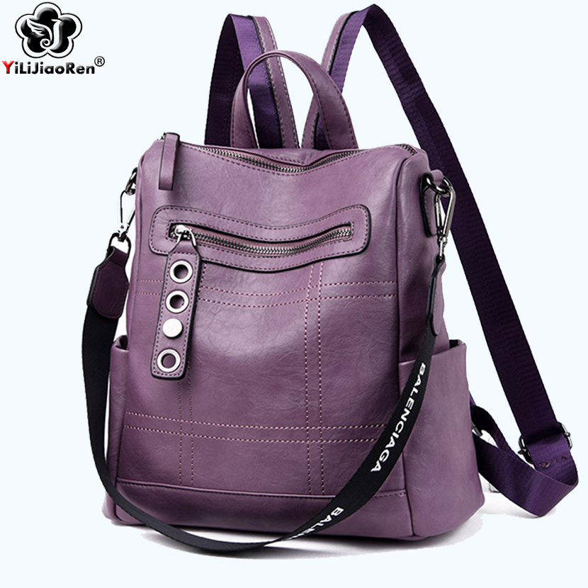 Fashion Thread Leather Backpack Female Luxury Brand Women Backpack Large Capacity Bookbag Simple Travel Shoulder Bags for Women in Backpacks from Luggage Bags