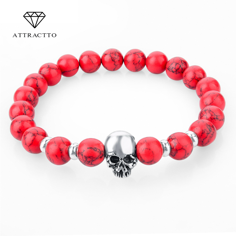 ATTRACTTO 2019 NEW Fashion Beads 용암 Skull Bracelets