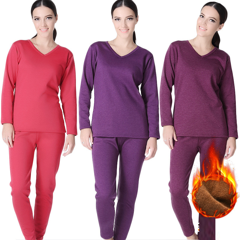 Plus Size XL-6XL Winter Thermal Underwear Suits Women Long Johns V Collar Shirt Pants 2 Pieces Set Velvet Thick Warm Pajamas