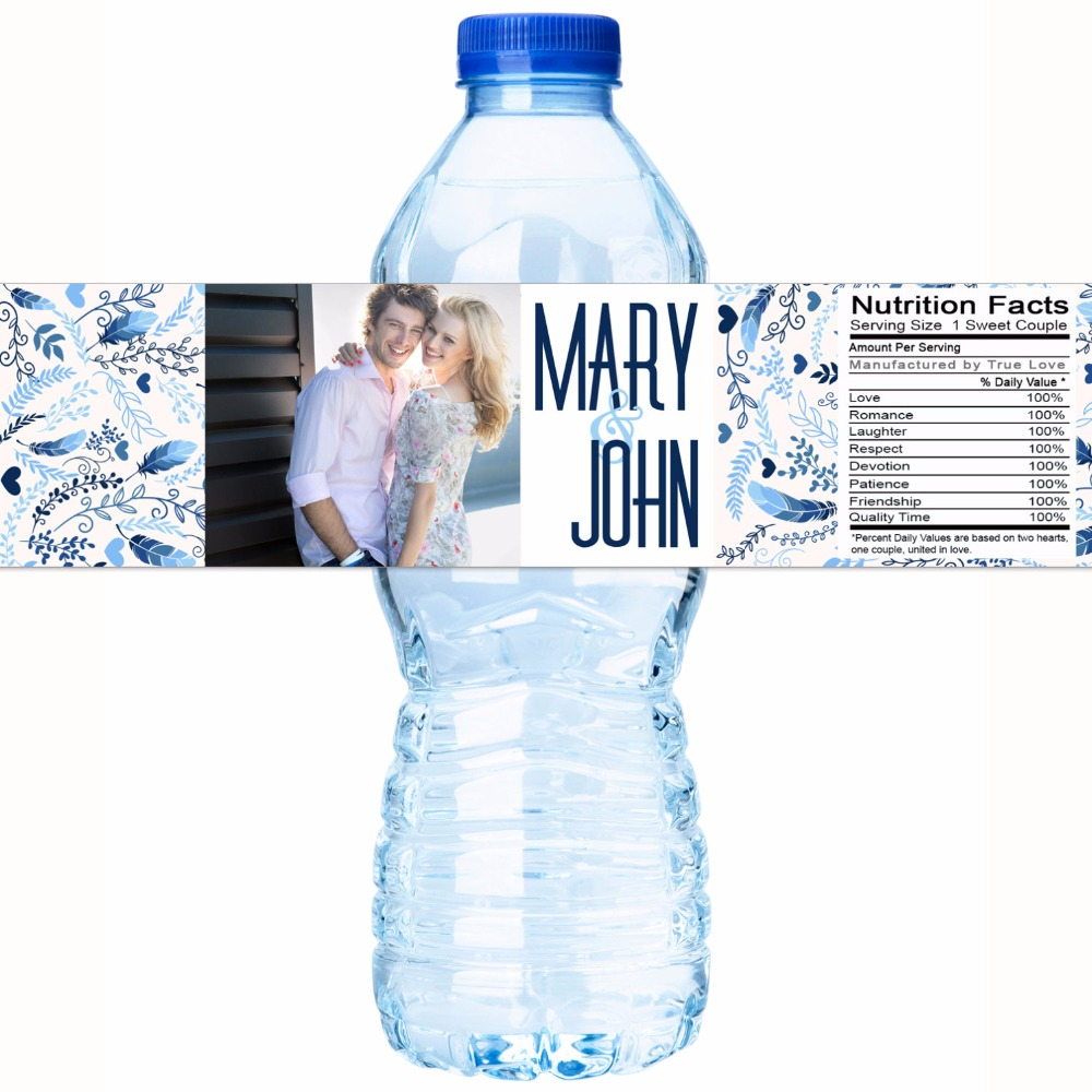 Customized Name Couple Photo Personalized Water Bottle Labels ...