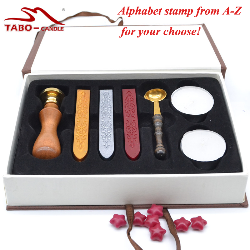 Classic Wax Seal Set In Brown Gift Box - Alphabet Letter Stamp , Wickless Stick, and Vintage Wax Melting Spoon & Tea Lights gifted set 26pcs iron box gift tools in fancy and portable silver tone box