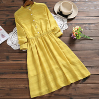 Spring autumn Silk Vintage Casual Stand Collar Solid Color A line dress Loose Single breasted Long Sleeve Women Dresses aa787