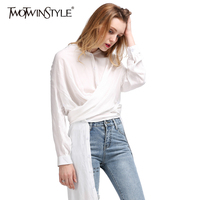 TWOTWINSTYLE 2017 Split autumn Women's Long Blouses Shirt Midi Tops White Feminine Blouse Casual Female Cardigan Clothes Korean