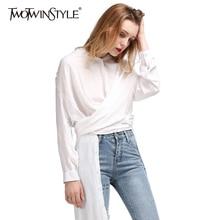 TWOTWINSTYLE 2017 Split autumn Women's Long Blouses Shirt Midi Tops White Feminine Blouse Casual Female Cardigan Clothes Korean