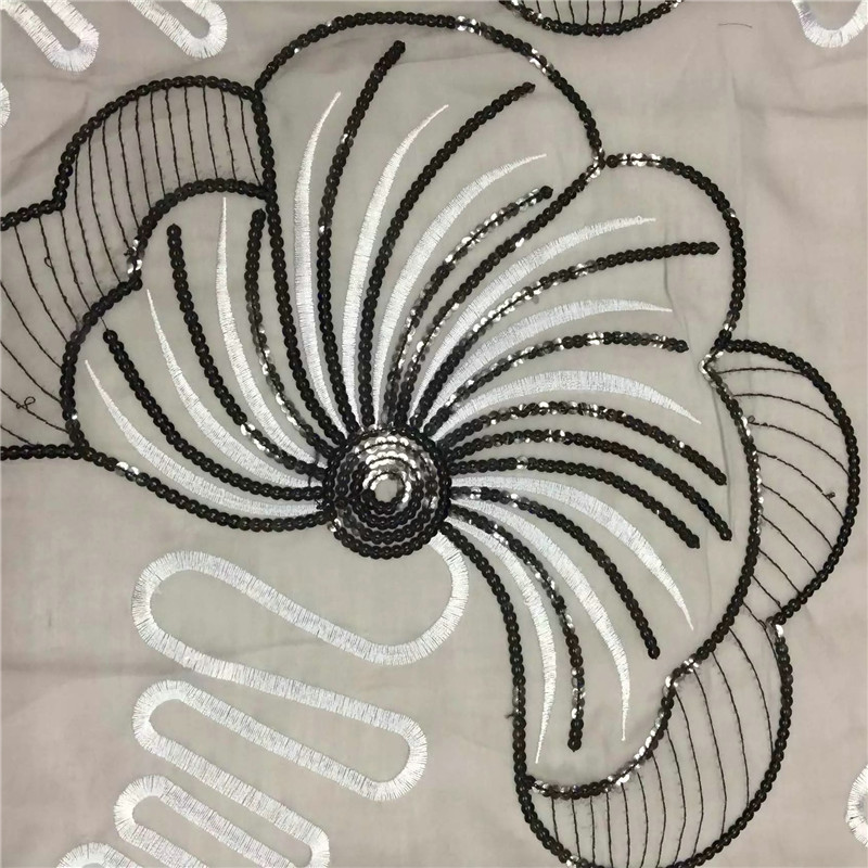 MS20 For Winnter is Coming Cotton Swiss noble lace Big Fan Pattern With Sequin,For Party Dress Free Shipping Guipure Lace Fabric
