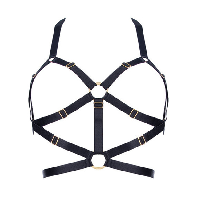 New Sexy Crop Top Cage Bra Harness Black Elastic Can Adjust Size Bondage lingerie Goth Punk Harajuku belt Fetish Wear Lingerie