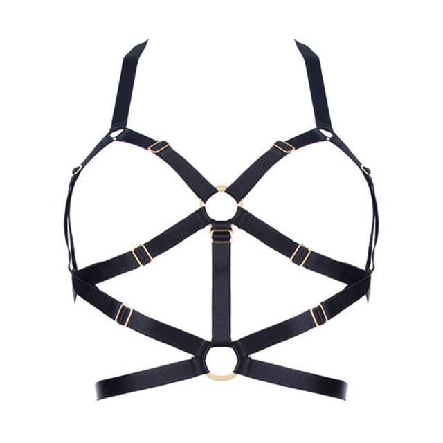 Nueva Sexy Crop Top Jaula Arnés Sujetador Elástico Negro Puede ajustar Tamaño cinturón Fetish Bondage lingerie Goth Punk Harajuku Desgaste ropa interior