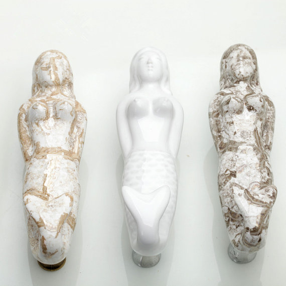 3.75 Handles Pulls Mermaid Crack Ceramic Drawer Handles Pulls Home Decorative Chic Kitchen Cabinet Pulls handles 96mm