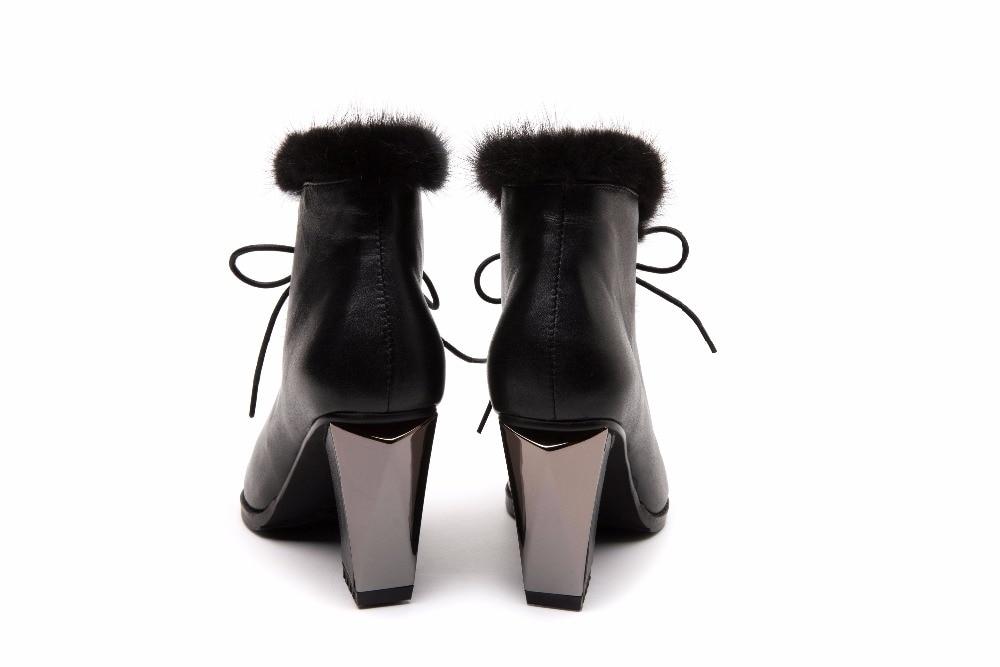 Cheveux Base Cuir En Véritable Automne Bottines Hiver Dames Talons Avec Bottes Mode Robe Casual Chaussures Vison Femmes Mi De IxqUO