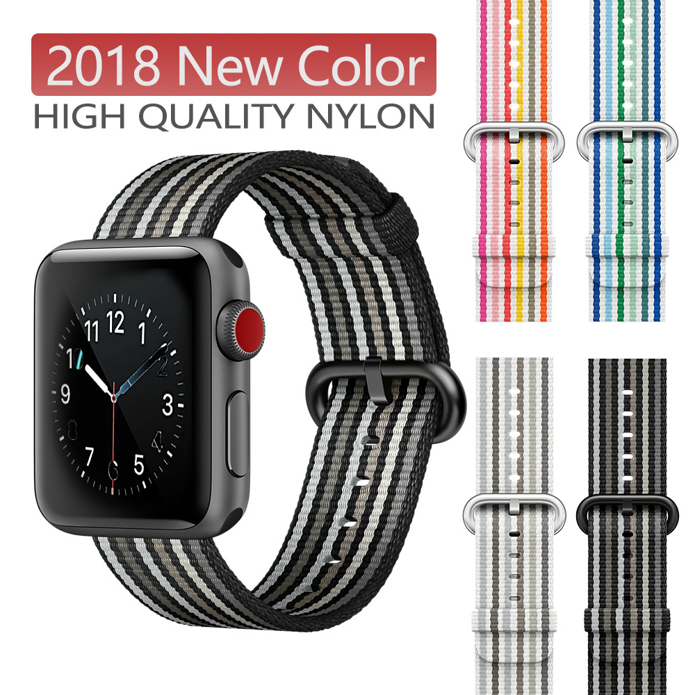 New Nylon Sport Loop Band For Apple Watch Series 5 4 3 Strap For IWatch 44mm 42MM 38 Colorful Lightweight Breathable Replacement