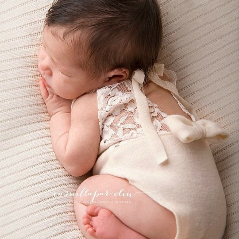 Newborn Photography Props Accessories Knit Jumpsuit Cute Baby Girl Lace Bow Costume Baby Photo Prop Baby Photography Clothing