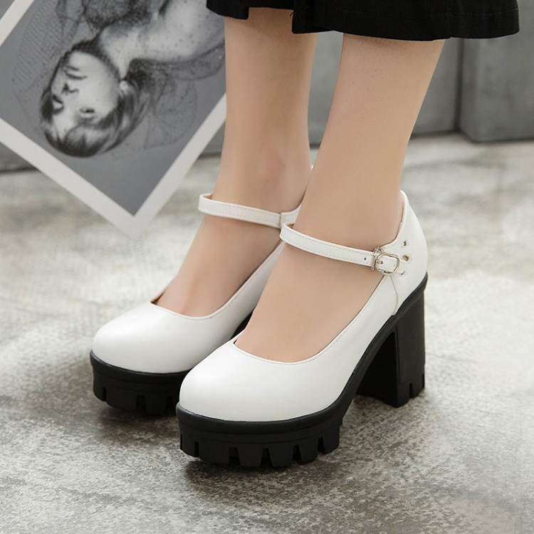 a677e093ace PXELENA Punk Gothic Rock Women Pumps Platform Chunky Block Thick High Heel  Shoes Ladies 2019 Spring