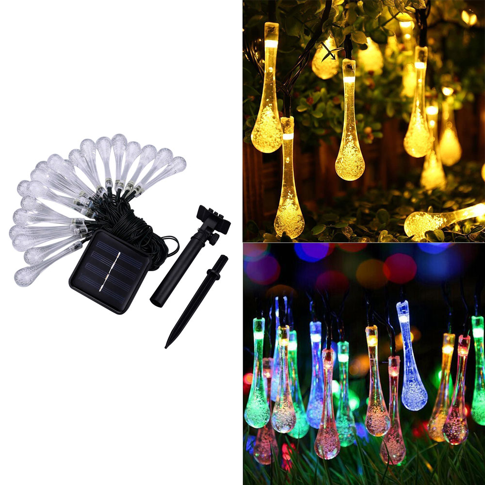 Water Drop String Lights 6.5M 30 LED Waterproof Christmas Fairy Lights For Home Holiday Decorations (Warm White) Pakistan