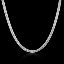 925 sterling silver chains necklace 4mm flat smooth sanke chain with Love heart Letter necklace for women choker necklace