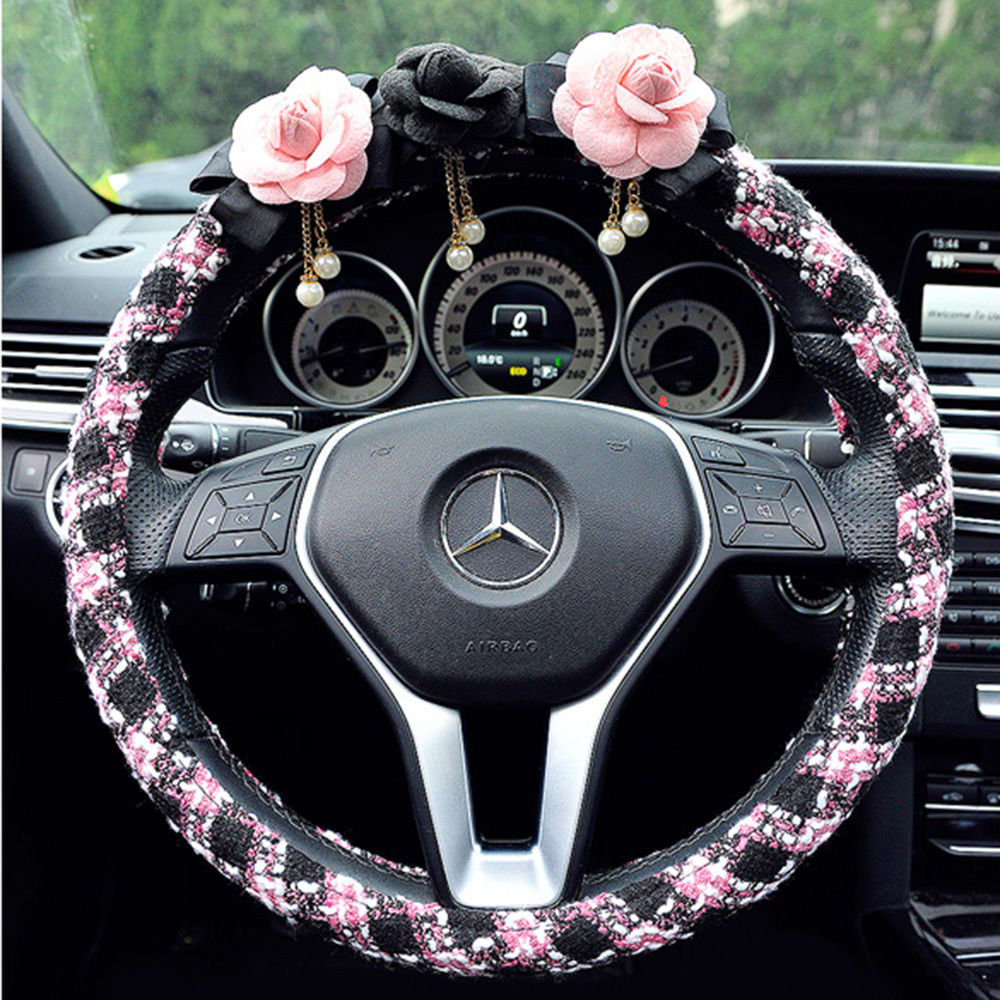 1pc Flower Car Steering Wheel Cover Protector Wrap fit 38 cm Universal Camellia Flower Steering Cover Guard for Women Girls