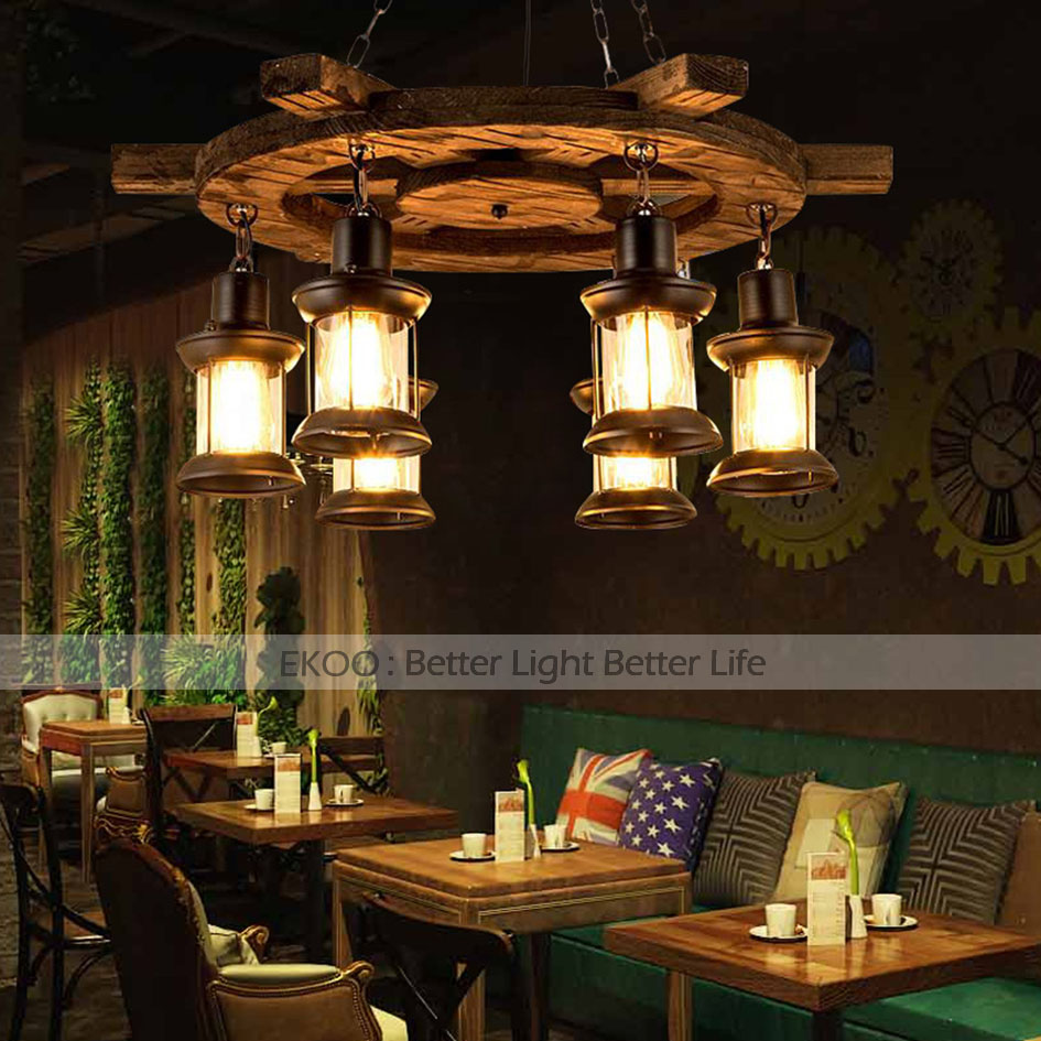 EKOO Wooden Boat Rudder Chandelier Industrial Retro Light Bar Loft Cafe