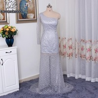 One Shoulder Long Sleeves Pearls Beading Silver Evening Dress See Through Sweep Train Sexy Fully Crystals