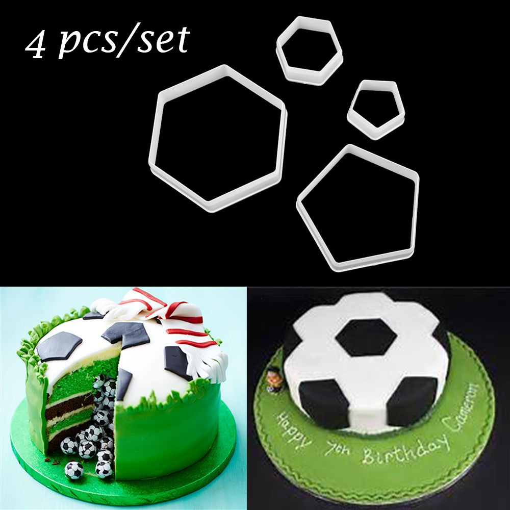 Buy 4 pcs set diy sugar craft decorating for Football cookie cutter template