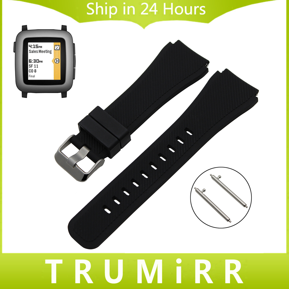 цена на 22mm Quick Release Silicone Rubber Watchband for Pebble Time / Steel Moto 360 2 46mm Men Watch Band Wrist Strap Bracelet Black