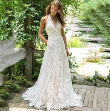 EEN Lijn Trouwjurk Halter Hals Kant Applicaties Bruid Jurk 2019 Backless Custom Made Bruidsjurken Vestido De Novia