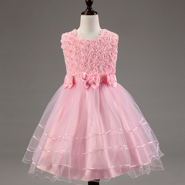 2015 toddler girl clothing Girl Princess Christmas Dresses Pink Big Bowknot Sleeveless Beading Wedding Kids Dress