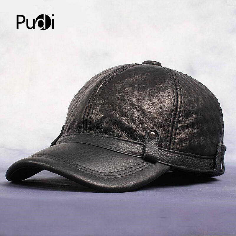 HL070-1 Men's genuine leather baseball cap brand new style winter warm Russian real leather black GOLF caps hats