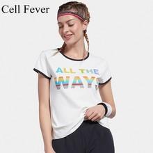 лучшая цена Women Gym Print Quick Dry Shirt Yoga Crop Tops Short Sleeve Workout Fitness Running Training Sport T-Shirts Ropa Deportiva Mujer