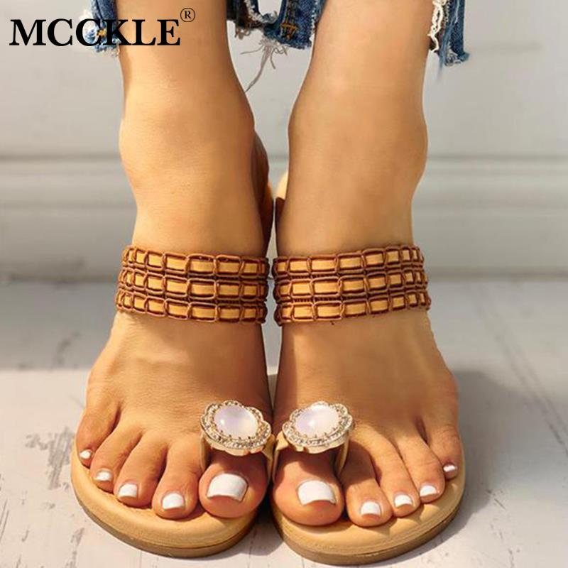MCCKLE Summer Women Slippers Rhinestone Embellished Toe Ring Sandals Female Flip Flops Casual Flat Shoes Ladies Beach ShoesMCCKLE Summer Women Slippers Rhinestone Embellished Toe Ring Sandals Female Flip Flops Casual Flat Shoes Ladies Beach Shoes