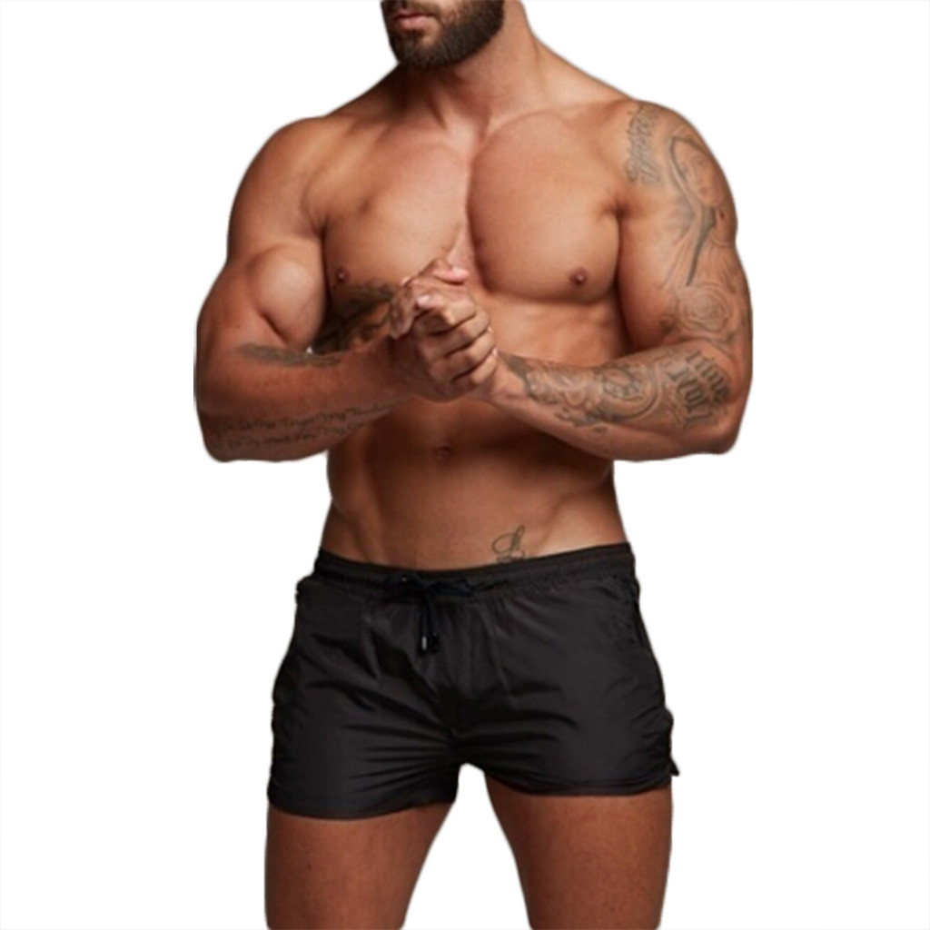 In Quality 2019 New Men Fashion Zipper Pure Black Beach Short S Workout Casual Elastic Waist Trouser Shorts Mid Waist Swimsuit Sexy#g30 Superior