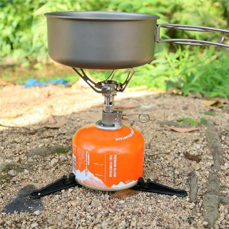 1PCS 2019 New Folding Outdoor Camping Hiking Cooking Gas Tank Bracket Canister Stand Tripod Black Camping Heater