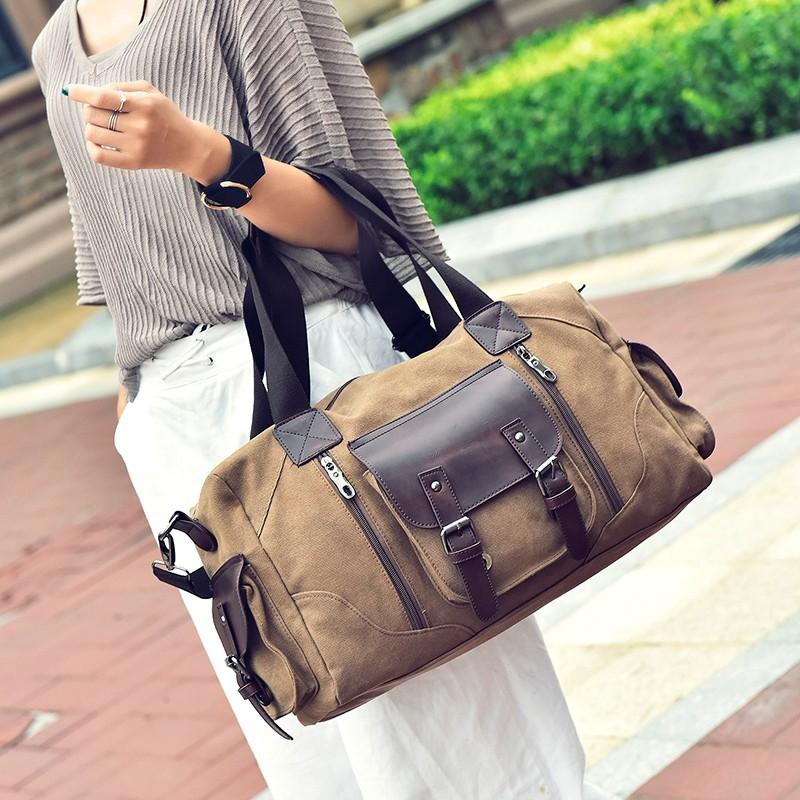 Famous Brand Men Vintage Canvas Men Travel Bags Women Weekend Carry On Luggage & Bags Leisure Duffle Bag Large Capacity Handbags (19)