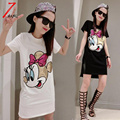 Plus size S- 2XL 2017 summer women casual loose cartoon mouse sequins long black t shirt short sleeve street white tees