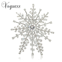VOGUESS Snowflake 82*100mm Big Brooches Hijab Pins Luxury AAA Zircon Brooches Wedding Gift for Woman Freeship