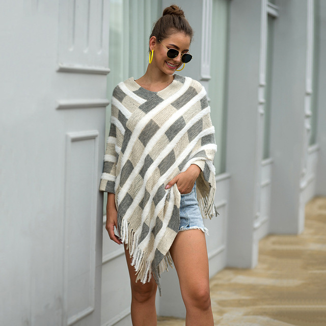HEE GRAND Women Plaid Sweaters Autumn 2019 New Tassels Cloaks Sexy V-neck Pullovers High Street Capes Drop Shipping WZL1505 2