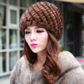 BF-FUR 2017 Women Hats, For Women Cap,Women Beanie Headwear Fur Hats,Genuine Knitted Mink Fur Hats,coffee color caps hats